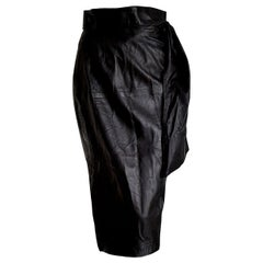 "Roberto FABRIS Paris ""New"" Black Lambskin Skirt Belt Foulard Falling - Unworn"