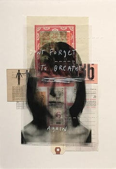 Don't Forget to Breathe Again, One of Kind Mixed Media on %100 Cotton Paper