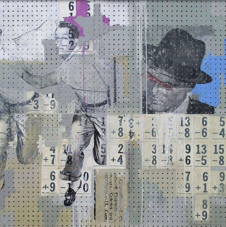 Polyptych I Sad songs about fading buildings, Sugar Pops, San Francisco shoes, La liebre pretendiente, and Soñar Con Sombrero  One of Kind Mixed Media Individual Image size: 47.6 in. H x 48 in. W Overall size: 47.6 in. H x 240 in. W Acrylic,