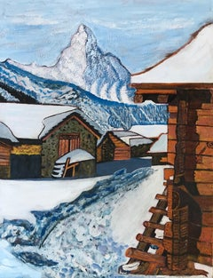 Snow-covered chalets
