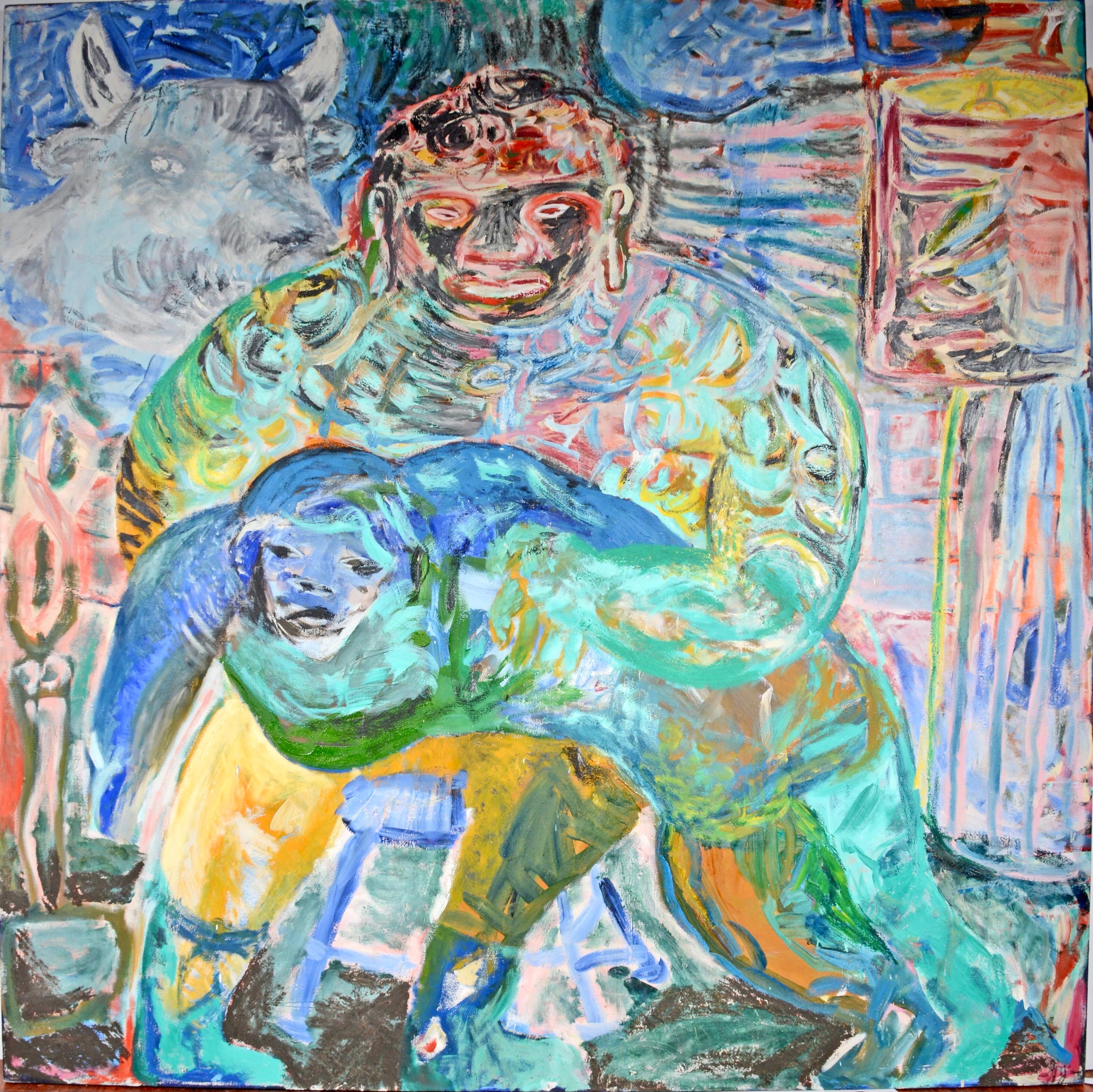 Large Colorful 1983 Neo Expressionist Roberto Juarez Oil Painting Tron Family