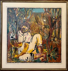 Large Colorful Neo Expressionist Roberto Juarez Color Woodcut Woodblock Print