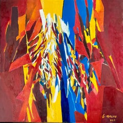 1960's Large Colorful Abstract Expressionist Swiss Oil Painting Robert Lauro