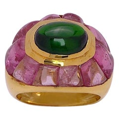 Roberto Legnazzi 18 Karat Yellow Gold Ring with Green and Pink Tourmaline