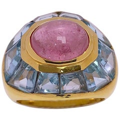 Roberto Legnazzi 18 Karat Yellow Gold Ring with Pink Tourmaline and Blue Topaz