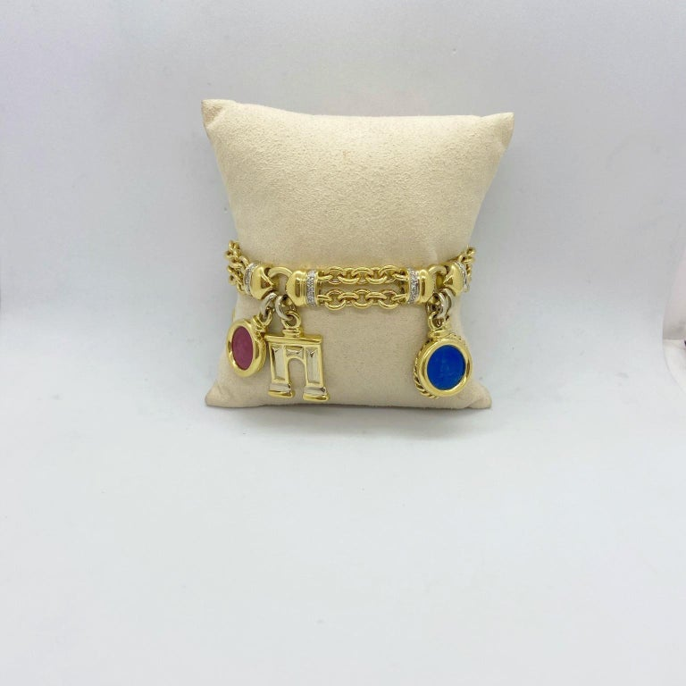 Roberto Legnazzi 18KT Yellow Gold, Travel Charm Bracelet with Enamel & Diamonds For Sale 6