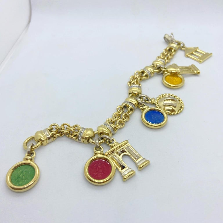Round Cut Roberto Legnazzi 18KT Yellow Gold, Travel Charm Bracelet with Enamel & Diamonds For Sale