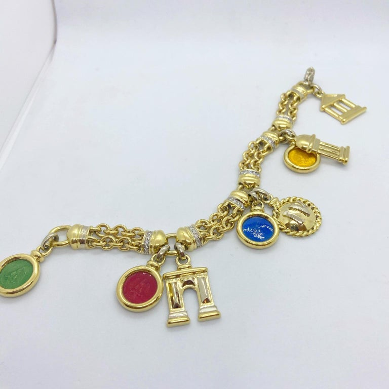 Roberto Legnazzi 18KT Yellow Gold, Travel Charm Bracelet with Enamel & Diamonds In New Condition For Sale In New York, NY