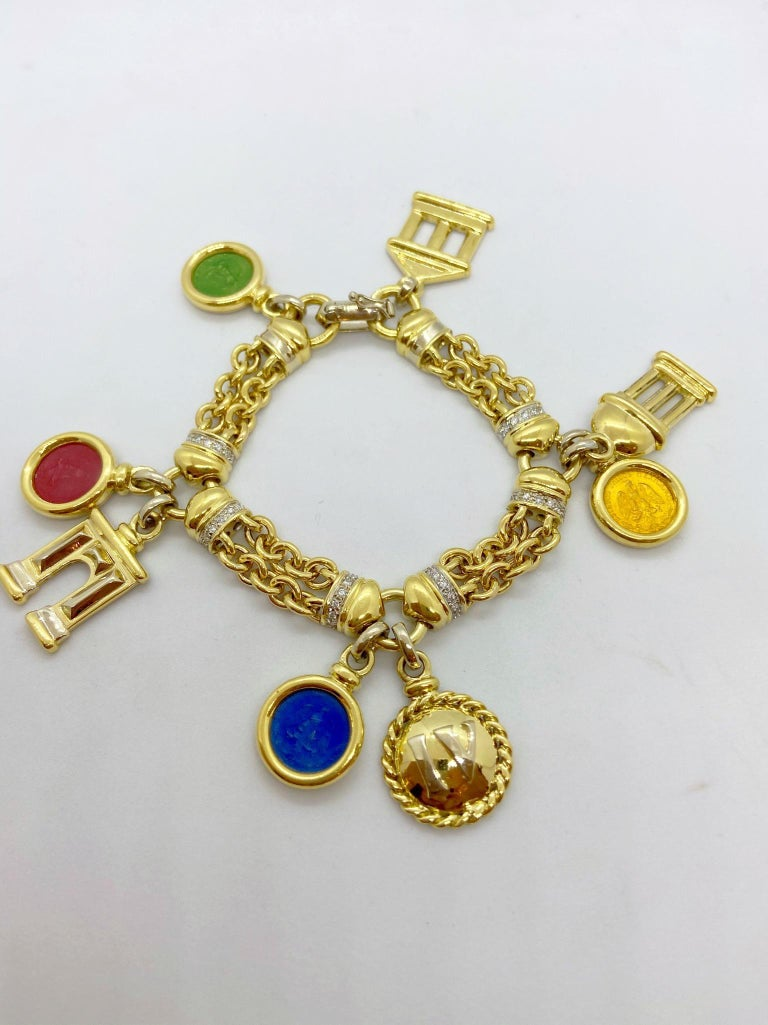 Women's or Men's Roberto Legnazzi 18KT Yellow Gold, Travel Charm Bracelet with Enamel & Diamonds For Sale