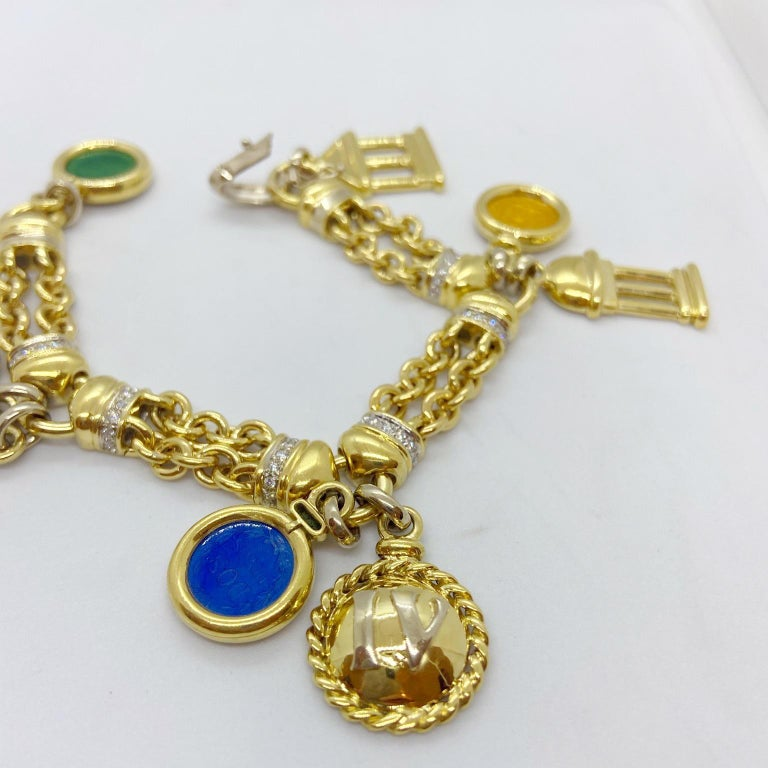 Roberto Legnazzi 18KT Yellow Gold, Travel Charm Bracelet with Enamel & Diamonds For Sale 2