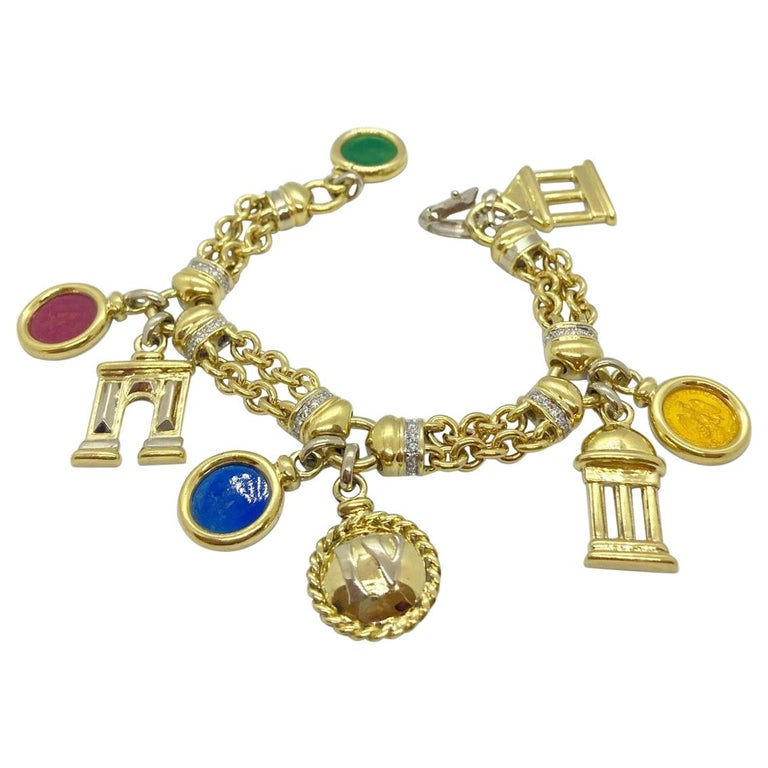 Roberto Legnazzi 18KT Yellow Gold, Travel Charm Bracelet with Enamel & Diamonds For Sale