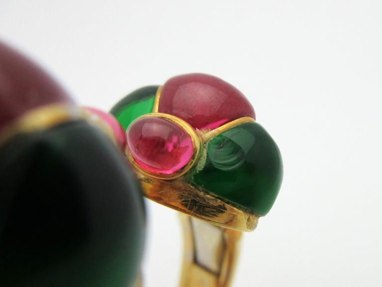 Roberto Legnazzi Diamond and Colored Stone Cuff 18 Karat Yellow Gold 8