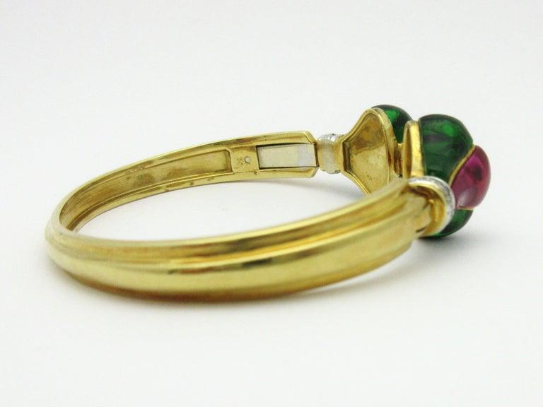 Women's or Men's Roberto Legnazzi Diamond and Colored Stone Cuff 18 Karat Yellow Gold