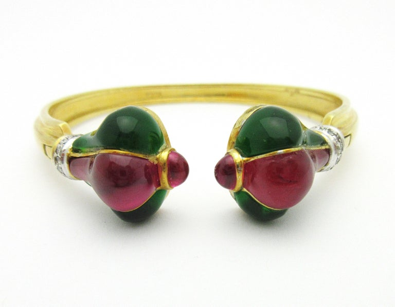 Roberto Legnazzi Diamond and Colored Stone Cuff 18 Karat Yellow Gold 1