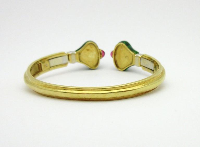 Roberto Legnazzi Diamond and Colored Stone Cuff 18 Karat Yellow Gold 3