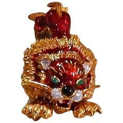 Roberto Legnazzi Diamond Emerald Enamel Gold Lion Brooch Pin