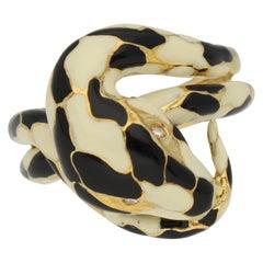 Roberto Legnazzi Enamel Diamonds Python Snake Gold Ring