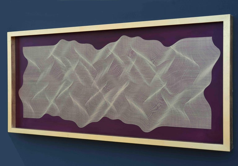Golden Fabric 2020 - geometric abstract painting - Painting by Roberto Lucchetta