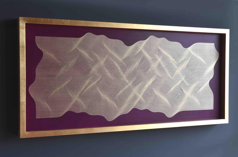Golden Fabric 2020 - geometric abstract painting - Abstract Geometric Painting by Roberto Lucchetta