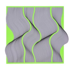 Movement Fluo geometric abstract painting