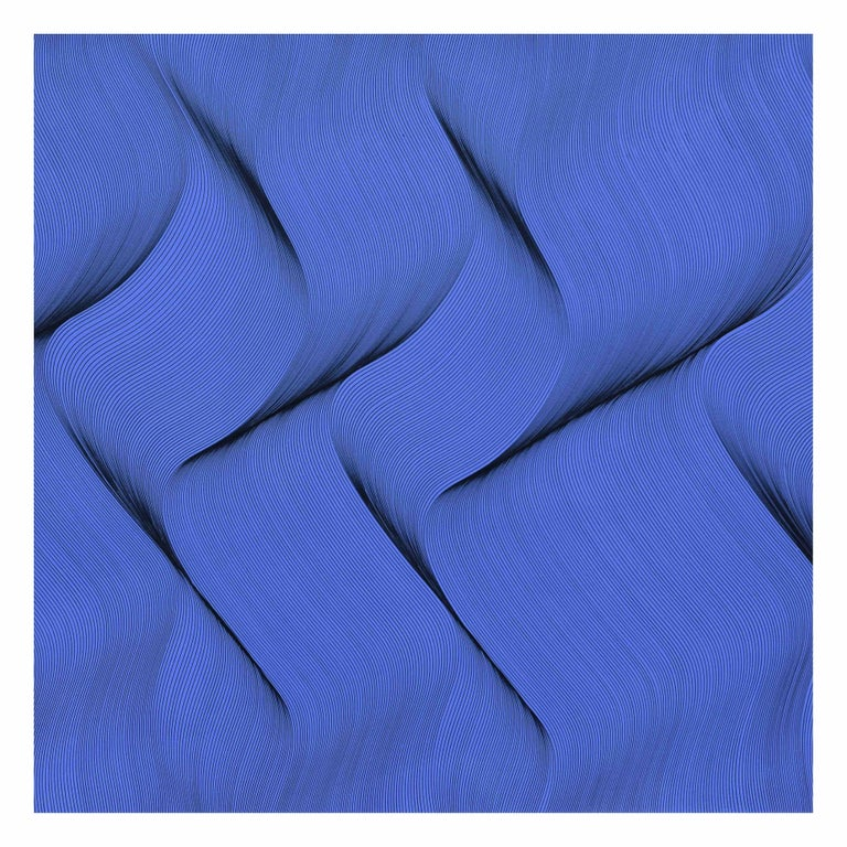 Roberto Lucchetta Abstract Painting - Movement in Blue - abstract painting
