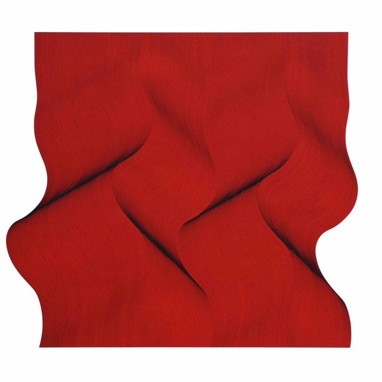 Roberto Lucchetta Abstract Painting - Movement in red - abstract painting