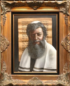 "Oil Painting ""The Rabbi"" Sensitive Judaica Portrait by Italian American master"