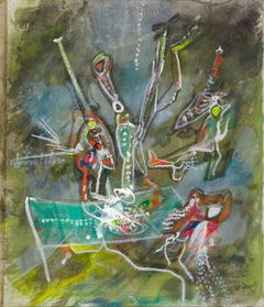 Untitled - Original Oil on Canvas by Roberto Sebastian Matta - 1987