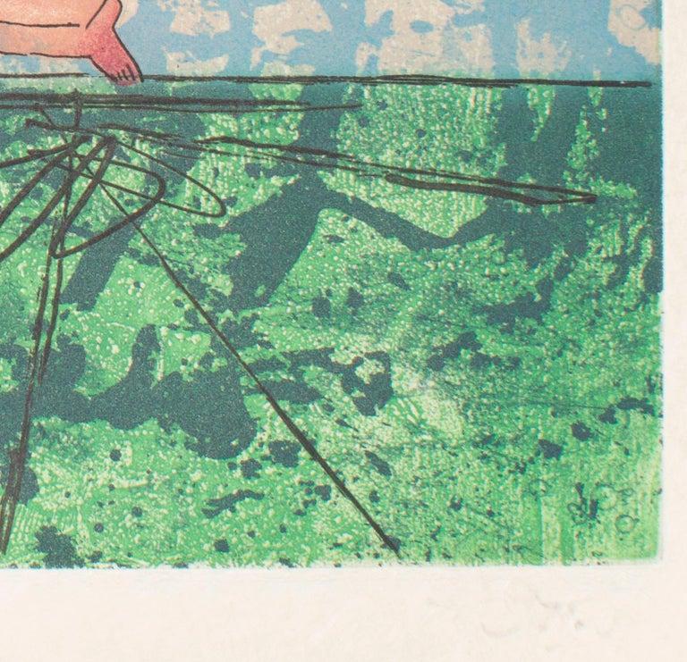 Archery – Original Etching by R.S. Matta- 1977 - Green Print by Roberto Matta