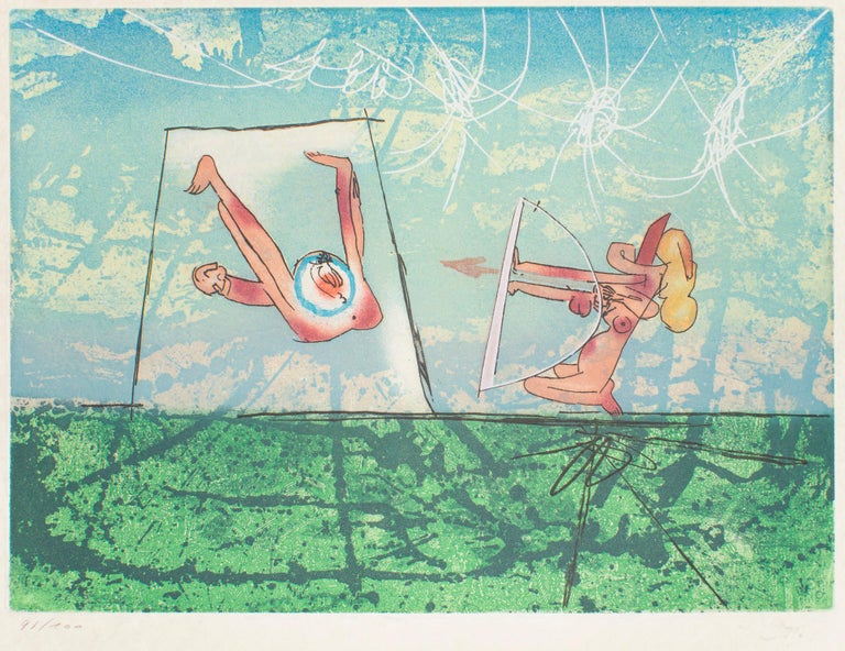 Roberto Matta Print - Archery – Original Etching by R.S. Matta- 1977