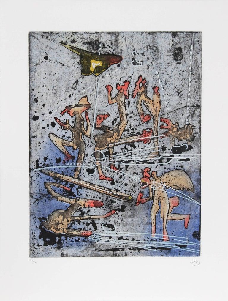 L'ame du Tarot de Theleme Portfolio of 5 Aquatint Etchings by Matta - Gray Figurative Print by Roberto Matta