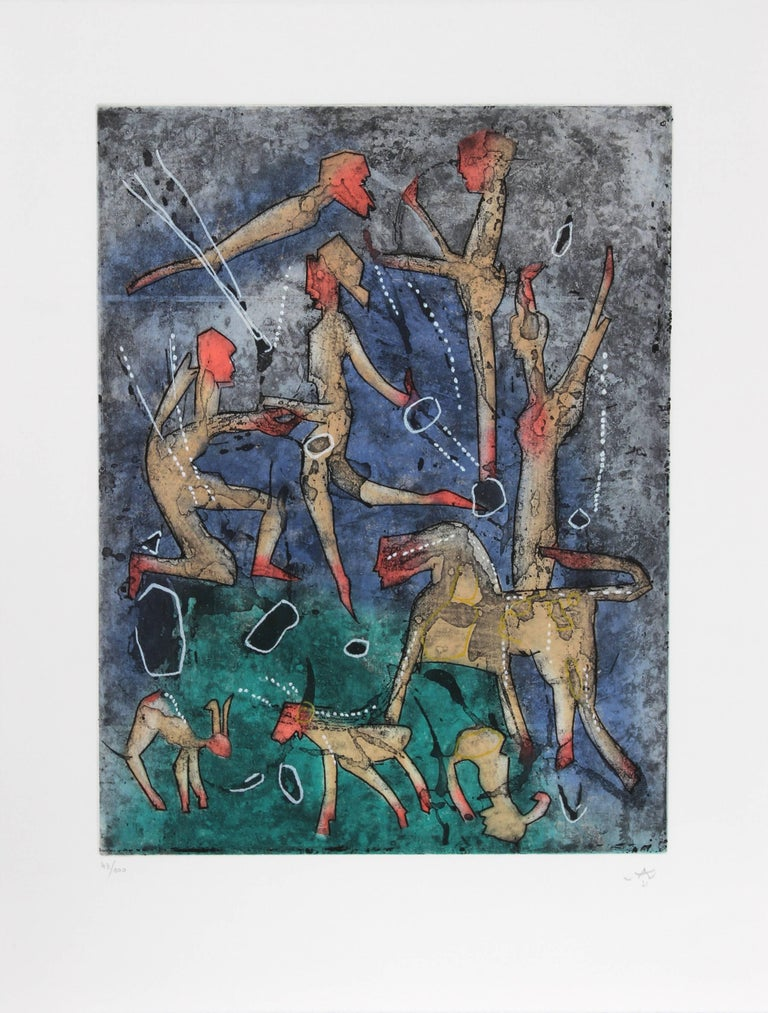 Artist: Roberto Matta Portfolio: L'ame du Tarot de Theleme Year: 1994 Medium: Portfolio of Five Aquatint Etchings, each signed and numbered in pencil Edition: 100, XX Image Size: 19.25 x 14.5 inches Paper Size: 26 x 19.5 inches   Printer: Atelier