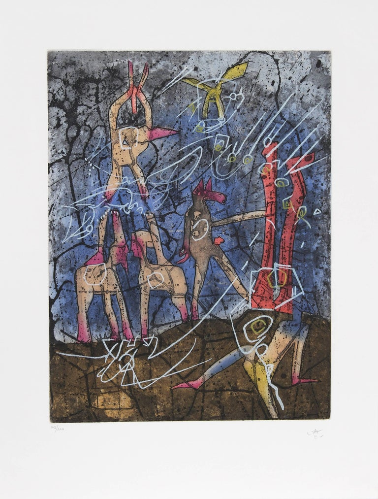 L'ame du Tarot de Theleme Portfolio of 5 Aquatint Etchings by Matta For Sale 1