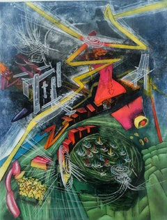 Pyrocentre, Abstract Surrealist Etching