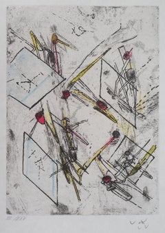 The Flight of the Pins - Original Etching Handsigned Numbered