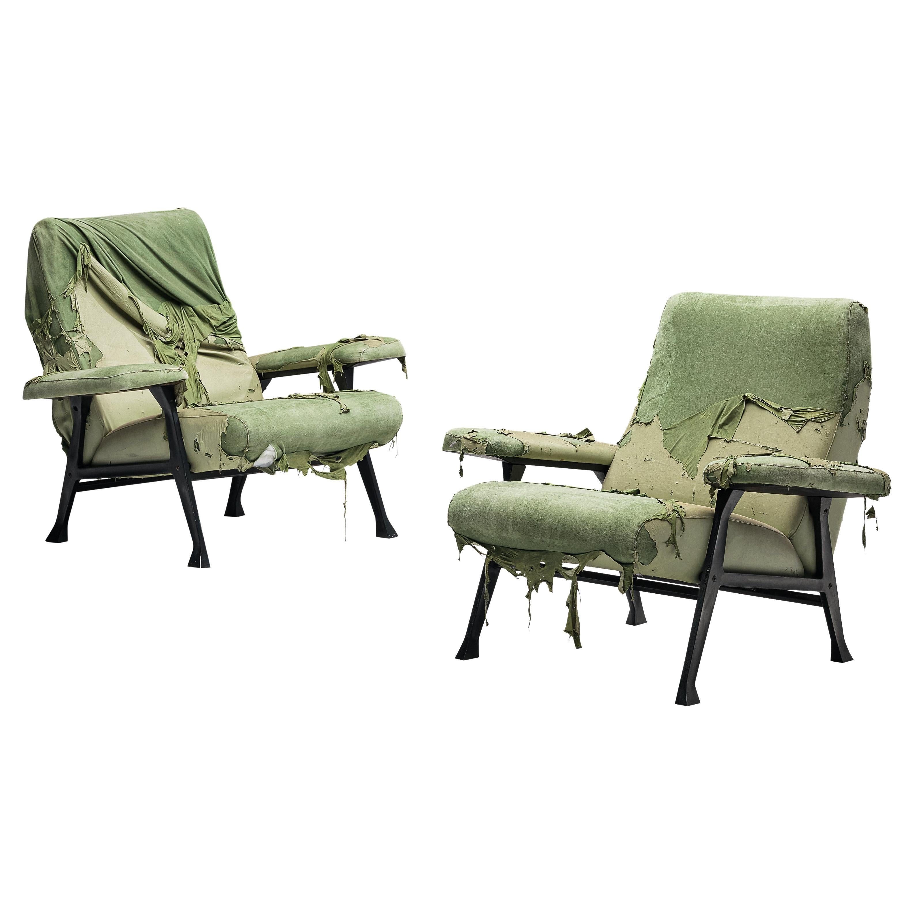 Roberto Menghi for Arflex Pair of 'Hall' Lounge Chairs in Light Green Fabric