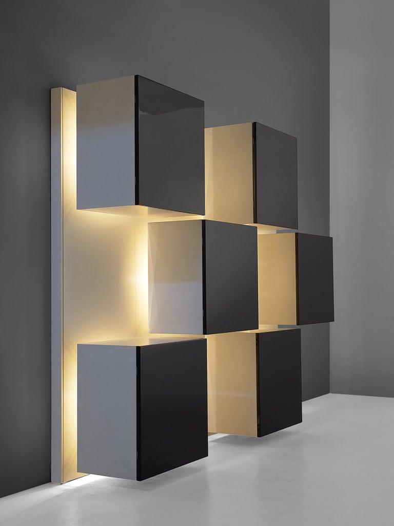 Mid-Century Modern Roberto Monsani Illuminated Wall Unit For Sale