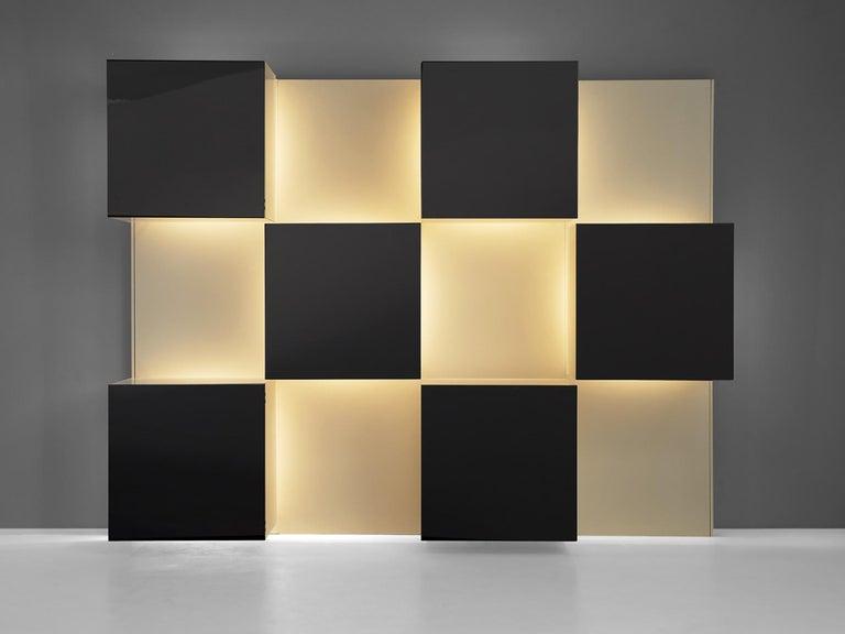 Italian Roberto Monsani Illuminated Wall Unit For Sale