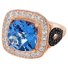 Roberto Ricci Ring, Blue Topaz, White Topaz, Chocolate Quartz, 14K Rose Gold
