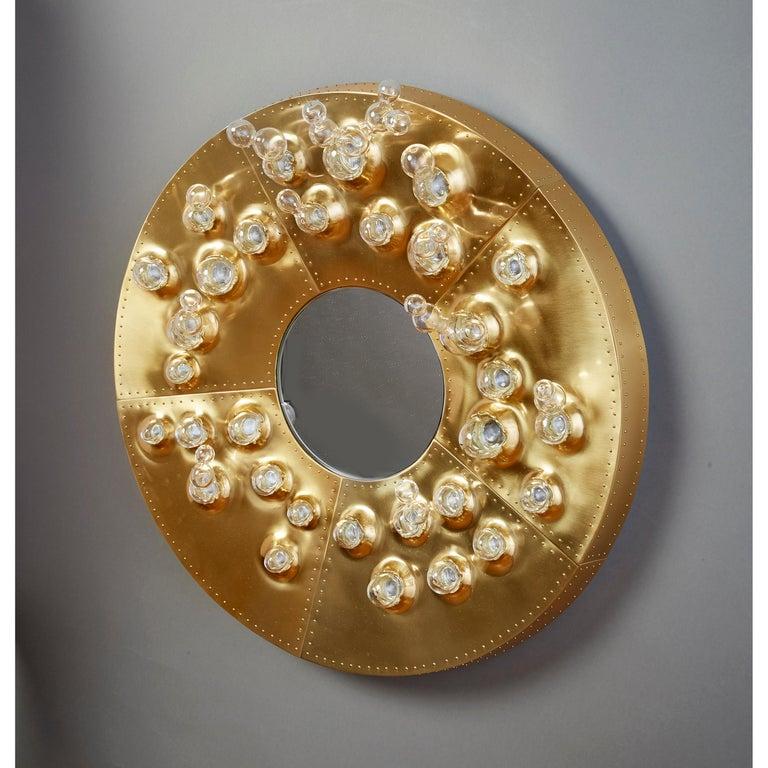 Roberto Rida and Simone Crestani: Gilt Bronze Hubble Bubble Mirror, Italy, 2019 For Sale 13