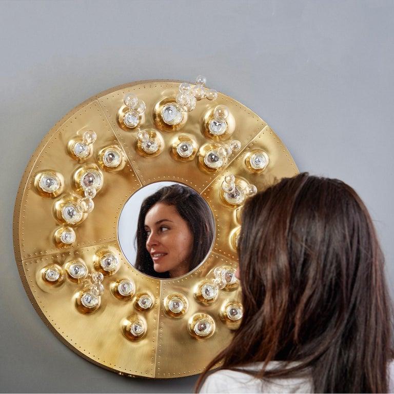 Roberto Rida and Simone Crestani: Gilt Bronze Hubble Bubble Mirror, Italy, 2019 For Sale 14