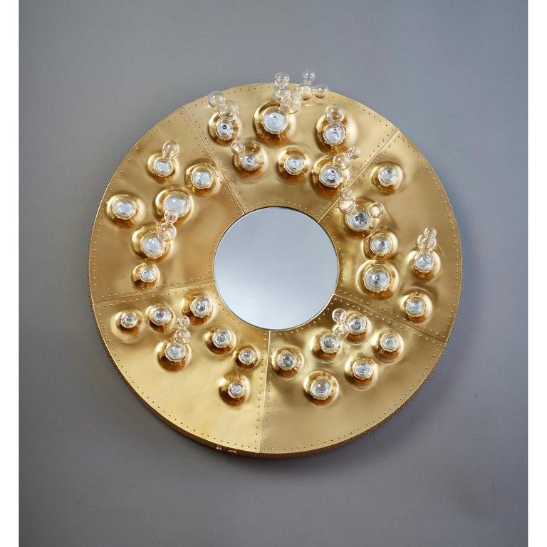 Roberto Rida and Simone Crestani: Gilt Bronze Hubble Bubble Mirror, Italy, 2019 For Sale 15