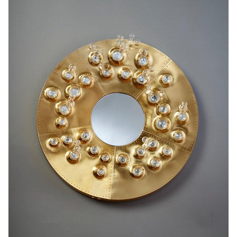 Italian Roberto Rida and Simone Crestani: Gilt Bronze Hubble Bubble Mirror, Italy, 2019 For Sale