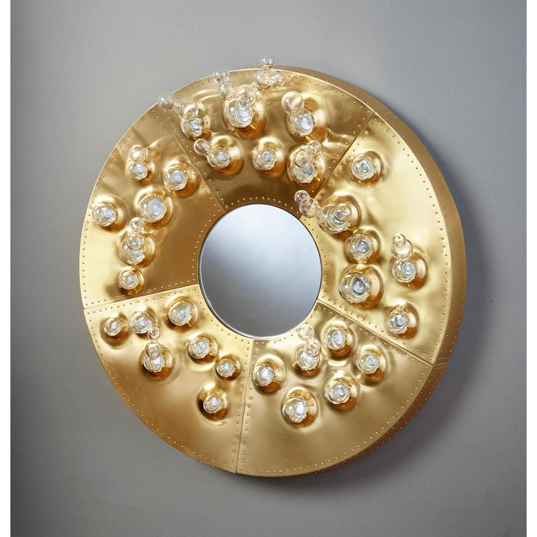 Roberto Rida and Simone Crestani: Gilt Bronze Hubble Bubble Mirror, Italy, 2019 In Excellent Condition For Sale In New York, NY