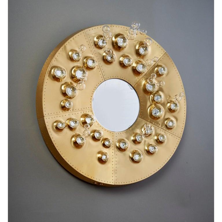 Contemporary Roberto Rida and Simone Crestani: Gilt Bronze Hubble Bubble Mirror, Italy, 2019 For Sale