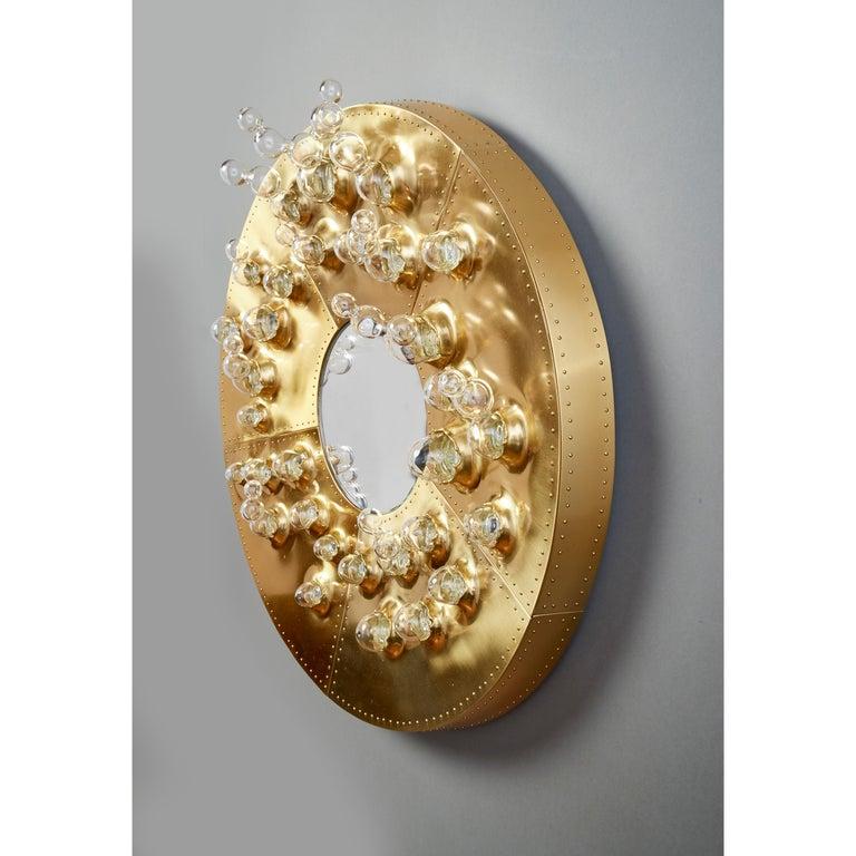 Roberto Rida and Simone Crestani: Gilt Bronze Hubble Bubble Mirror, Italy, 2019 For Sale 2