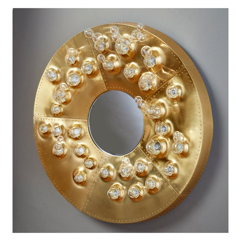 Roberto Rida and Simone Crestani: Gilt Bronze Hubble Bubble Mirror, Italy, 2019 For Sale 4