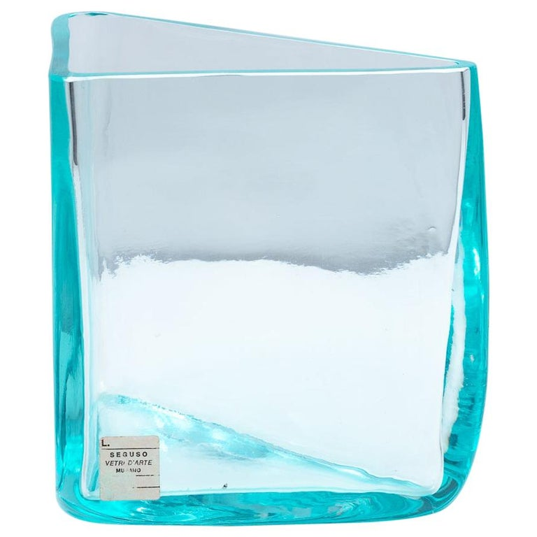 "Roberto Sambonet ""Cubic"" Aquamarine Blown Glass Triangular Vase for Seguso, 1979 For Sale"