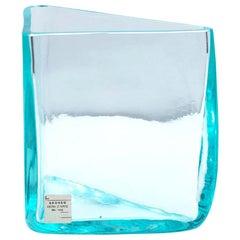 "Roberto Sambonet ""Cubic"" Aquamarine Blown Glass Triangular Vase for Seguso, 1979"