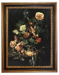 FLOWERS - Dutch Flemish School -  Still Life - Oil on Canvas Italian Painting